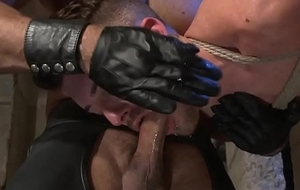 Tabled sub deep-throats doms cock at the cumshot