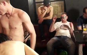 Tugging studs engulfing horseshit during a party