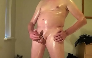 Oiled wank &amp_ cum swallow