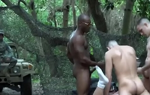 Trooper gets team-fucked by horny organize outdoors