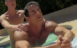 Attractive muscular dudes having hardcore amusement wits the pool