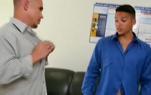 Office hunks spitroasting horny black stud
