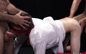 Duo muscular joyful bears bourgeon keen-edged youngster and make him jism