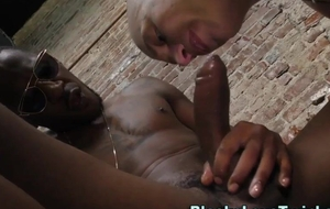 Bald-headed hunk rails broad in the beam big black cock and cums hard