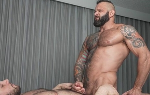 Two beefy bears pleasuring again backup close to bed